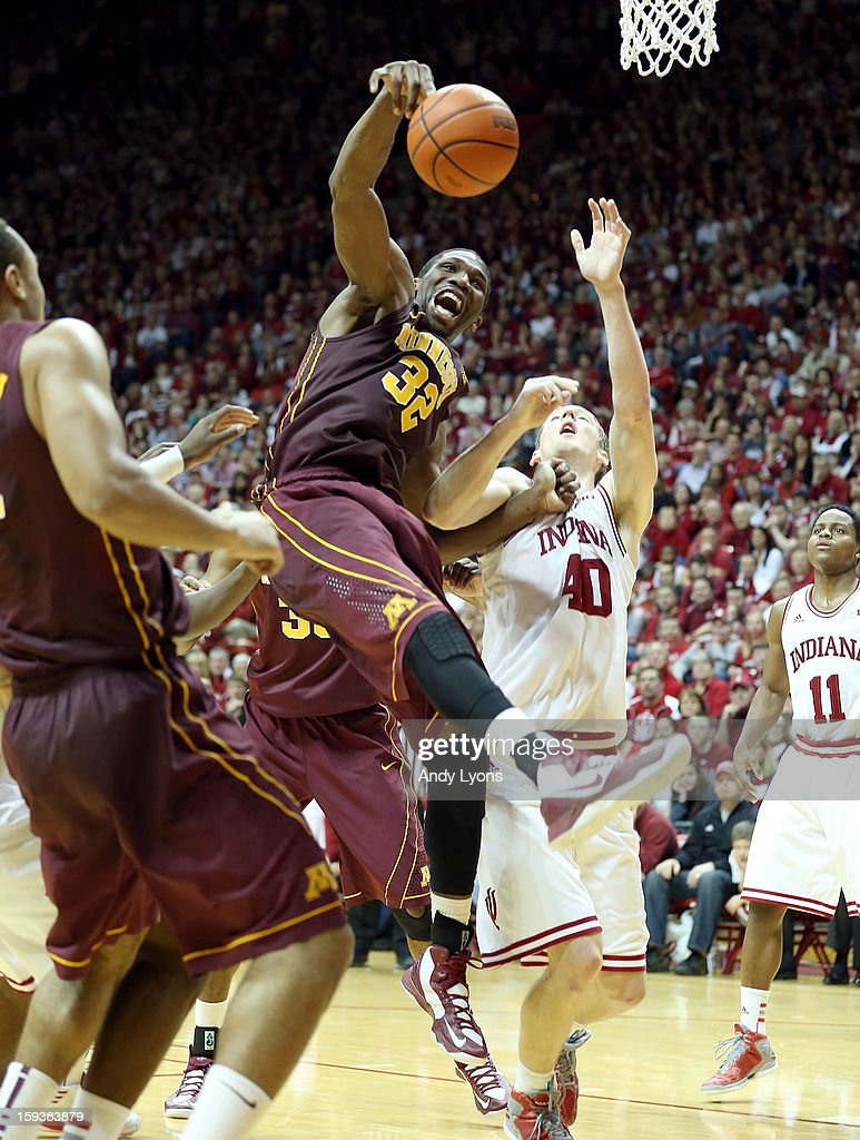 Trevor Mbakwe #32 of the Minnesota Golden Gophers grabs a rebound during the Big 10 game against the Indiana Hoosiers at Assembly Hall on January 12, 2013 in Bloomington, Indiana.