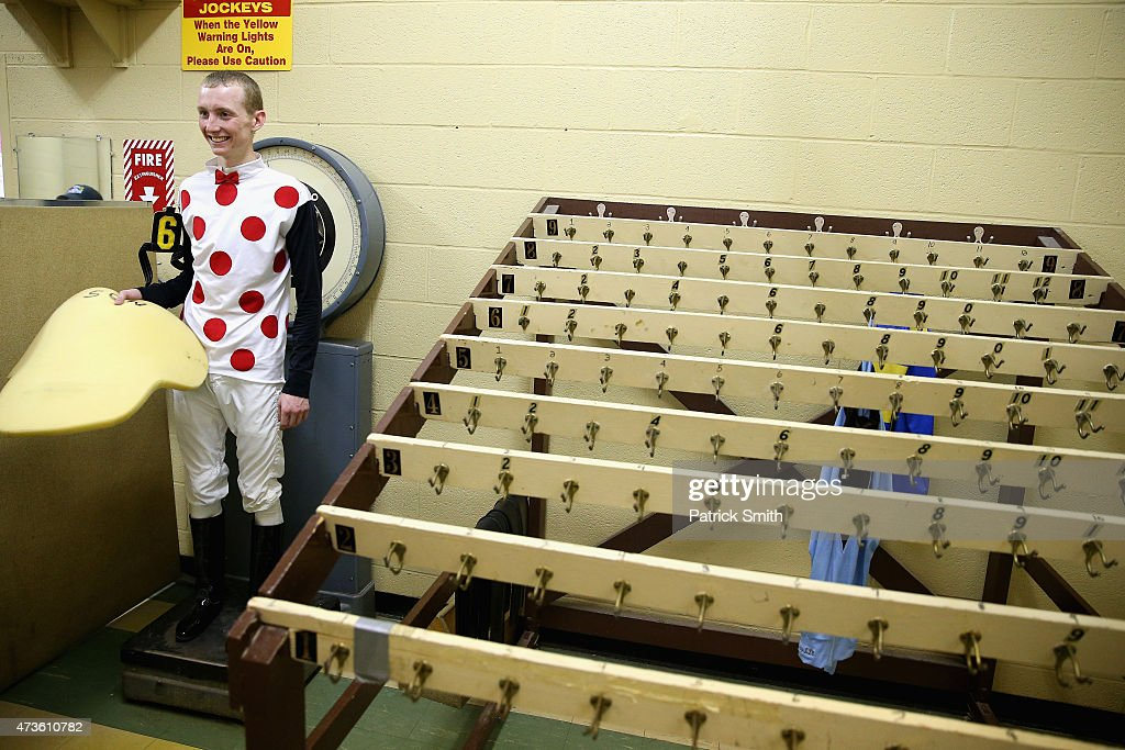 Trevor McCarthy jockey of Souper Knight is weighed in prior to The Maryland Sprint Handicap at Pimlico Race Course on May 16 2015 in Baltimore...
