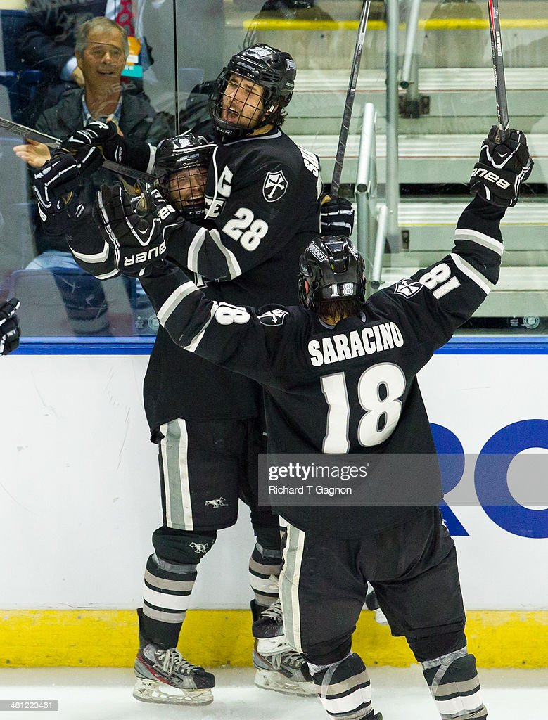 Trevor Mingoia #9 of the Providence College Friars celebrates his goal with teammates Nick Saracino #18 and Steven Shamanski #28 during the NCAA Division I Men's Ice Hockey East Regional Championship Semifinal against the Quinnipiac University Bobcats at Webster Bank Arena on March 28, 2014 in Bridgeport, Connecticut.