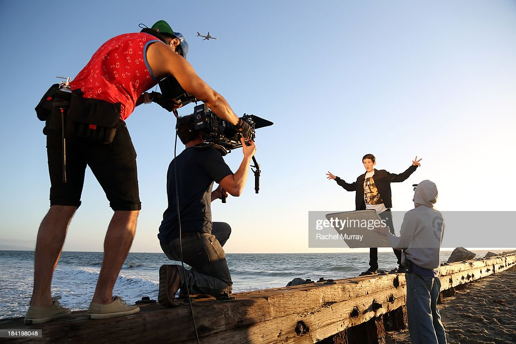 Trevor Moran (R) on location during his music video shoot for the song 'Someone' on October 11, 2013 in Playa del Rey, California.
