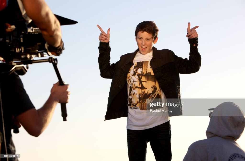 Trevor Moran (C) on location during his music video shoot for the song 'Someone' on October 11, 2013 in Playa del Rey, California.