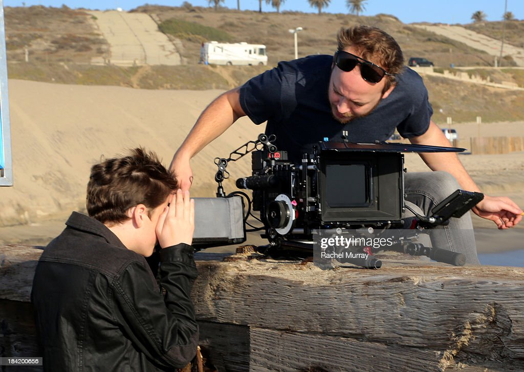 Trevor Moran (L) on location during his music video shoot for the song 'Someone' on October 11, 2013 in Playa del Rey, California.