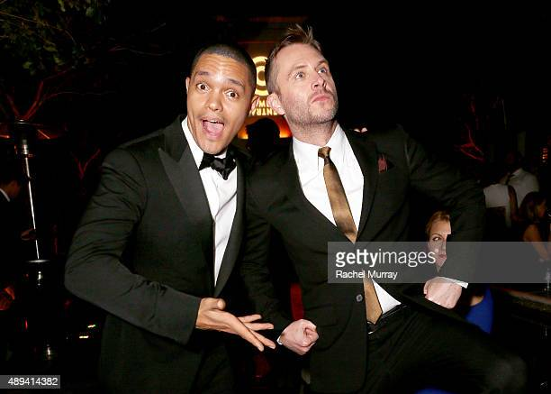 "Trevor Noah and Host and Executive Producer of Comedy Central's ""@midnight"" Chris Hardwick attend the Comedy Central Emmys After Party at Boulevard3..."