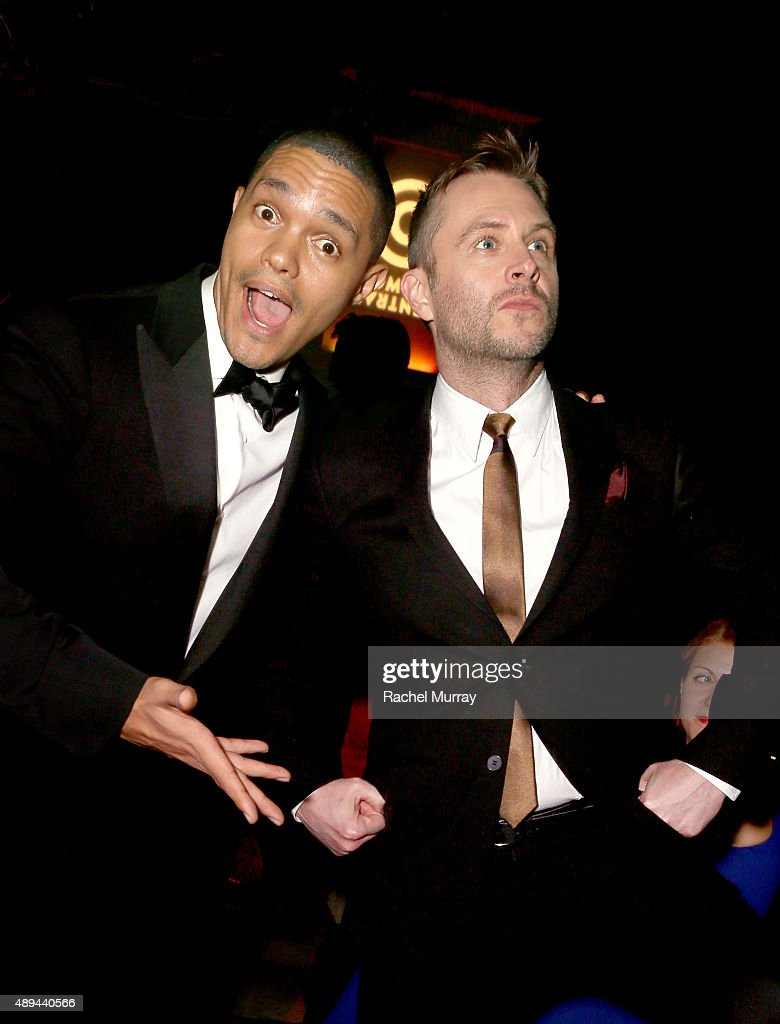 """Trevor Noah and Host and Executive Producer of Comedy Central's """"@midnight"""" Chris Hardwick attend the Comedy Central Emmys After Party at Boulevard3..."""