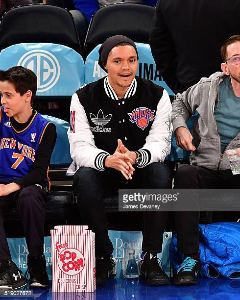 Trevor Noah attends the Indiana Pacers vs New York Knicks game at Madison Square Garden on April 3 2016 in New York City