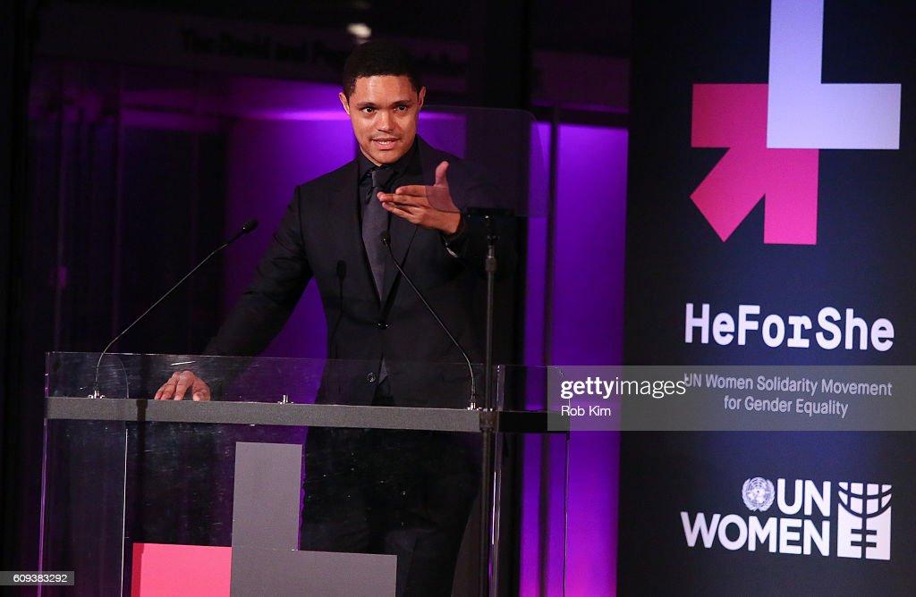 Trevor Noah speaks at HeForShe 2nd Anniversary Reception at Museum of Modern Art on September 20, 2016 in New York City.