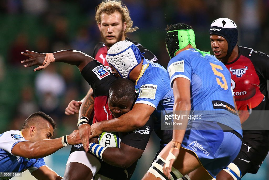 <a gi-track='captionPersonalityLinkClicked' href=/galleries/search?phrase=Trevor+Nyakane&family=editorial&specificpeople=9092540 ng-click='$event.stopPropagation()'>Trevor Nyakane</a> of the Bulls gets tackled during the round 10 Super Rugby match between the Force and the Bulls at nib Stadium on April 29, 2016 in Perth, Australia.