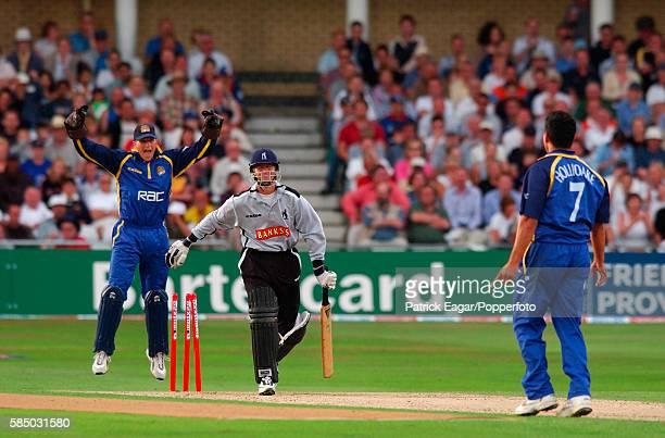 Trevor Penney of Warwickshire is bowled by Adam Hollioake of Surrey for 33 in the Twenty20 Final between Surrey and Warwickshire at Trent Bridge...