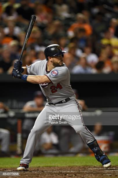 Trevor Plouffe of the Minnesota Twins bats against the Baltimore Orioles at Oriole Park at Camden Yards on August 29 2014 in Baltimore Maryland The...
