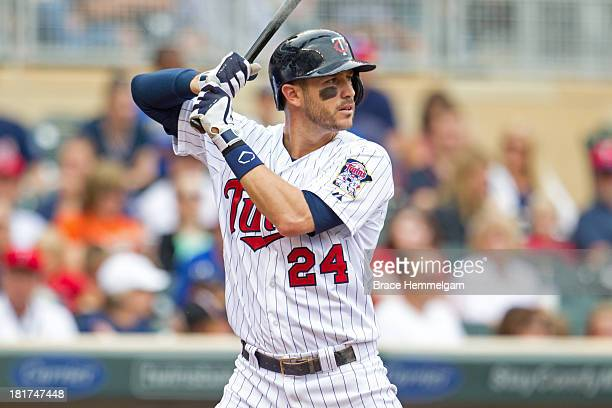 Trevor Plouffe of the Minnesota Twins bats against the Toronto Blue Jays on September 8 2013 at Target Field in Minneapolis Minnesota The Blue Jays...
