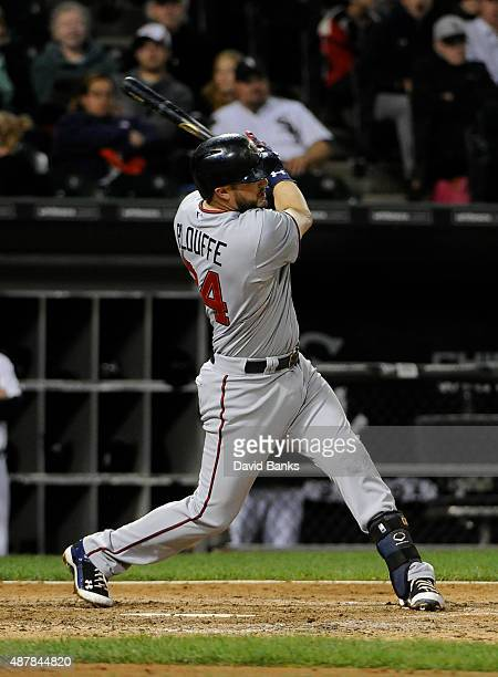 Trevor Plouffe of the Minnesota Twins hits a home run against the Chicago White Sox during the eighth inning on September 11 2015 at US Cellular...