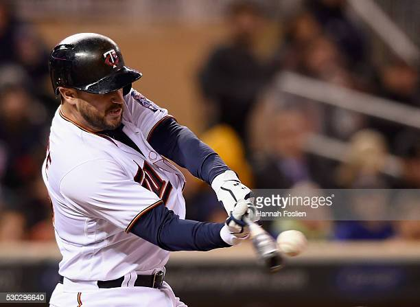 Trevor Plouffe of the Minnesota Twins hits a tworun home run against the Baltimore Orioles during the sixth inning of the game on May 10 2016 at...
