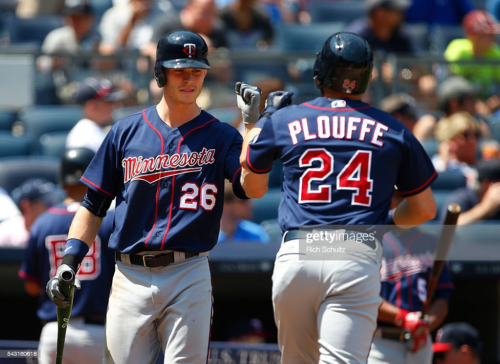Trevor Plouffe #24 of the Minnesota Twins is congratulated by Max Kepler #26 after he hit a home run in the sixth inning against the New York Yankees during a game at Yankee Stadium on June 26, 2016 in the Bronx borough of New York City.