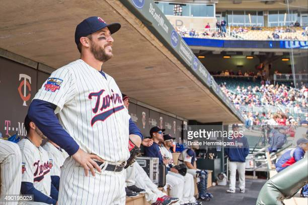 Trevor Plouffe of the Minnesota Twins looks on against the Minnesota Twins on April 26 2014 at Target Field in Minneapolis Minnesota The Twins...