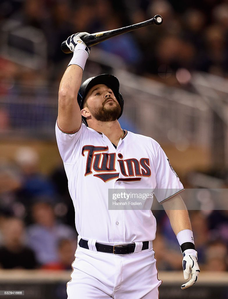 Trevor Plouffe #24 of the Minnesota Twins reacts to striking out against the Toronto Blue Jays during the tenth inning of the game on May 19, 2016 at Target Field in Minneapolis, Minnesota. The Blue Jays defeated the Twins 3-2 in eleven innings.