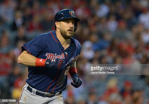 Trevor Plouffe of the Minnesota Twins rounds the bases after hitting a 3 run home run in the third inning of the game against the Los Angeles Angels...