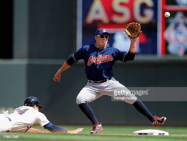 Trevor Plouffe of the Minnesota Twins slides safely back to second base as Asdrubal Cabrera of the Cleveland Indians fields the ball during the...