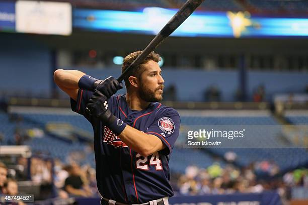 Trevor Plouffe of the Minnesota Twins takes some practice swings before batting against the Tampa Bay Rays at Tropicana Field on April 23 2014 in St...