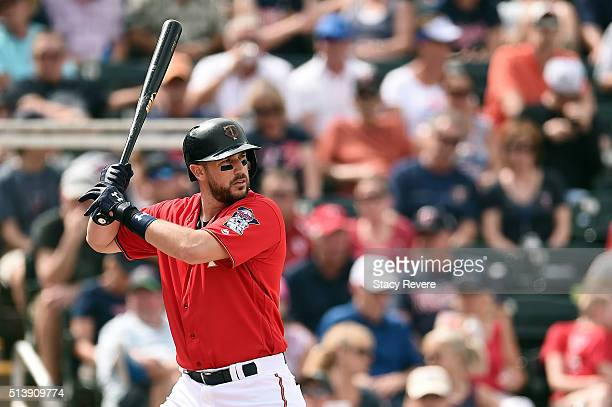 Trevor Plouffe of the Minnesota Twins waits for a pitch during the fourth inning of a spring training game against the Baltimore Orioles at Hammond...
