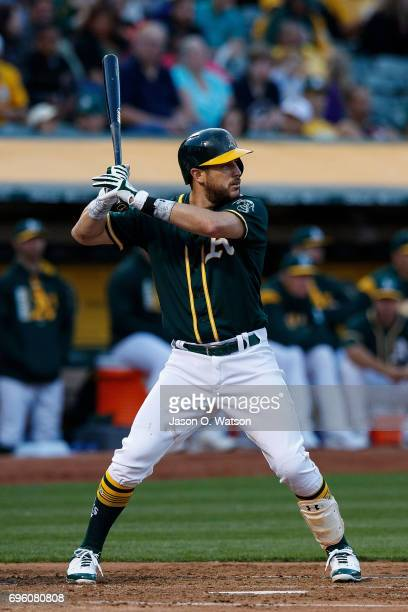 Trevor Plouffe of the Oakland Athletics at bat against the Washington Nationals during the third inning at the Oakland Coliseum on June 2 2017 in...