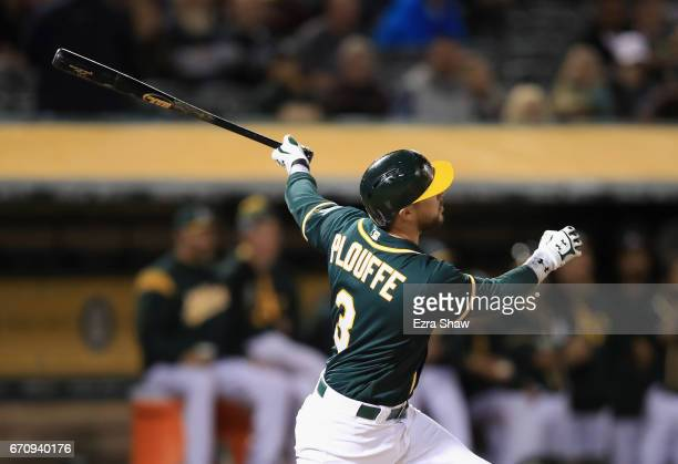 Trevor Plouffe of the Oakland Athletics hits a threerun home run in the seventh inning against the Seattle Mariners at Oakland Alameda Coliseum on...