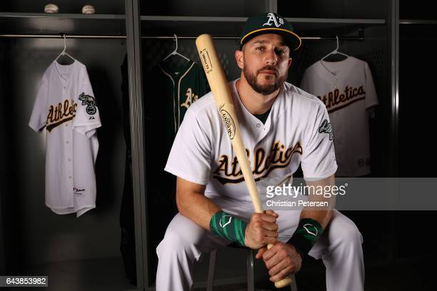 Trevor Plouffe of the Oakland Athletics poses for a portrait during photo day at HoHoKam Stadium on February 22 2017 in Mesa Arizona