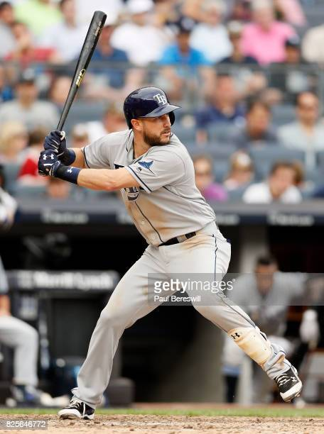 Trevor Plouffe of the Tampa Bay Rays bats in an MLB baseball game against the New York Yankees on July 29 2017 at Yankee Stadium in the Bronx borough...