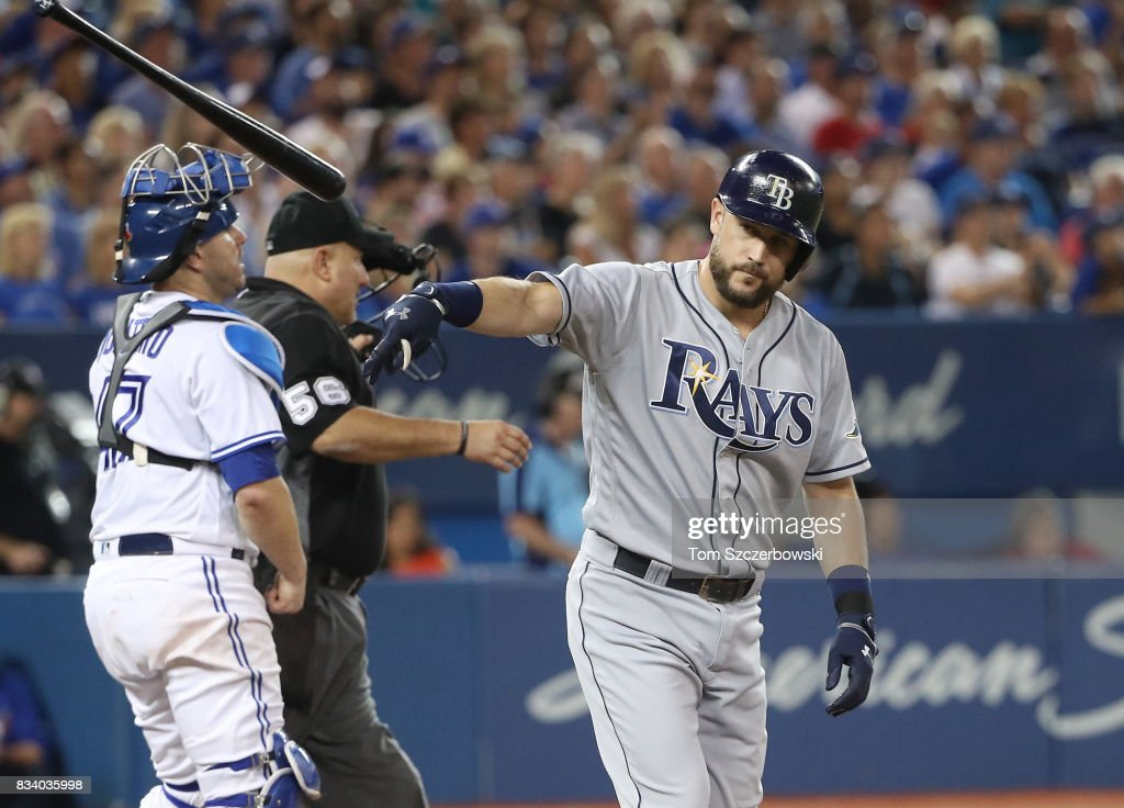 Trevor Plouffe #14 of the Tampa Bay Rays reacts as he pops out with the bases loaded in the sixth inning during MLB game action against the Toronto Blue Jays at Rogers Centre on August 17, 2017 in Toronto, Canada.