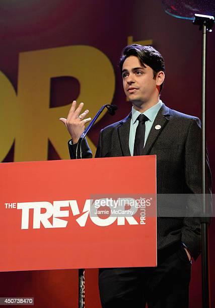 Trevor Project Volunteer Nicholas Bakalov speaks onstage during the Trevor Project's 2014 'TrevorLIVE NY' Event at the Marriott Marquis Hotel on June...