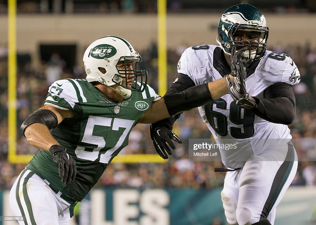 Trevor Reilly #57 of the New York Jets tries to run around Dillon Gordon #69 of the Philadelphia Eagles in the fourth quarter at Lincoln Financial Field on September 1, 2016 in Philadelphia, Pennsylvania. The Eagles defeated the Jets 14-6.