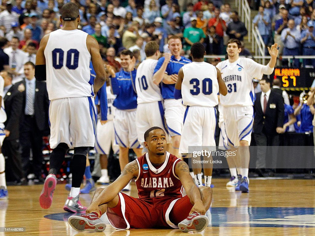 Trevor Releford of the Alabama Crimson Tide reacts after losing to the Creighton Bluejays during the second round of the 2012 NCAA Men's Basketball...