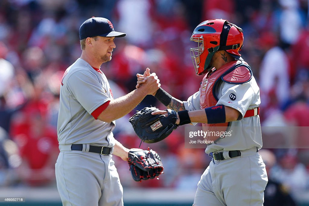 <a gi-track='captionPersonalityLinkClicked' href=/galleries/search?phrase=Trevor+Rosenthal&family=editorial&specificpeople=9003011 ng-click='$event.stopPropagation()'>Trevor Rosenthal</a> #44 and <a gi-track='captionPersonalityLinkClicked' href=/galleries/search?phrase=Yadier+Molina&family=editorial&specificpeople=172002 ng-click='$event.stopPropagation()'>Yadier Molina</a> #4 of the St. Louis Cardinals celebrate after the final out of the ninth inning after the game against the Cincinnati Reds at Great American Ball Park on April 11, 2015 in Cincinnati, Ohio. The Cardinals defeated the Reds 4-1.