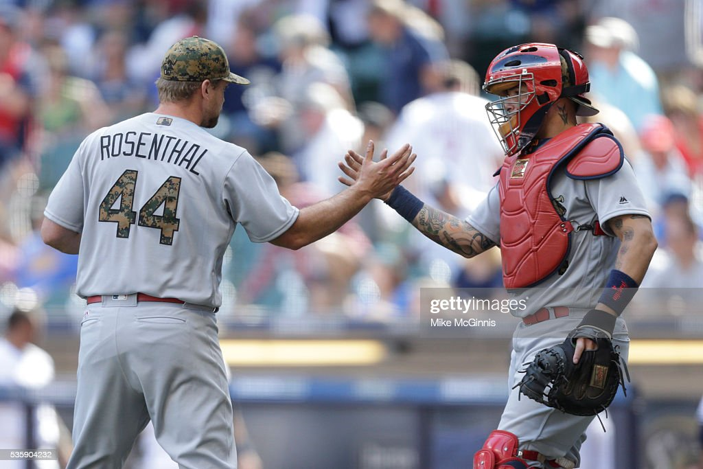 <a gi-track='captionPersonalityLinkClicked' href=/galleries/search?phrase=Trevor+Rosenthal&family=editorial&specificpeople=9003011 ng-click='$event.stopPropagation()'>Trevor Rosenthal</a> #44 of the St. Louis Cardinals celebrates with <a gi-track='captionPersonalityLinkClicked' href=/galleries/search?phrase=Yadier+Molina&family=editorial&specificpeople=172002 ng-click='$event.stopPropagation()'>Yadier Molina</a> #4 after the 6-0 win over the Milwaukee Brewers at Miller Park on May 30, 2016 in Milwaukee, Wisconsin.