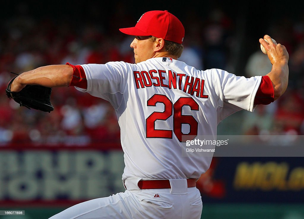 <a gi-track='captionPersonalityLinkClicked' href=/galleries/search?phrase=Trevor+Rosenthal&family=editorial&specificpeople=9003011 ng-click='$event.stopPropagation()'>Trevor Rosenthal</a> #26 of the St. Louis Cardinals delivers a pitch against the Cincinnati Reds during Opening Day on April 8, 2013 at Busch Stadium in St. Louis, Missouri.