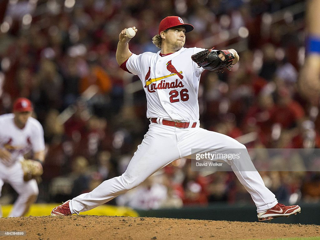 <a gi-track='captionPersonalityLinkClicked' href=/galleries/search?phrase=Trevor+Rosenthal&family=editorial&specificpeople=9003011 ng-click='$event.stopPropagation()'>Trevor Rosenthal</a> #26 of the St. Louis Cardinals delivers a pitch in the eleventh inning during a game against the Chicago Cubs at Busch Stadium on April 11, 2014 in St. Louis, Missouri.