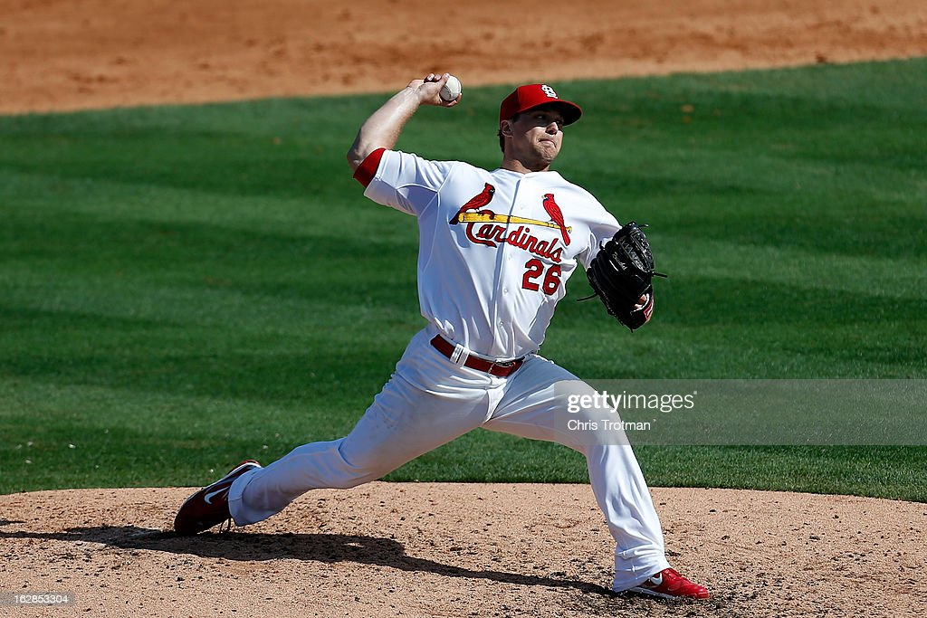 <a gi-track='captionPersonalityLinkClicked' href=/galleries/search?phrase=Trevor+Rosenthal&family=editorial&specificpeople=9003011 ng-click='$event.stopPropagation()'>Trevor Rosenthal</a> #26 of the St. Louis Cardinals pitches against the Miami Marlins at the Roger Dean Stadium on February 28, 2013 in Jupiter, Florida.