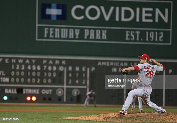 Trevor Rosenthal of the St Louis Cardinals pitches during Game 2 of the 2013 World Series against the Boston Red Sox Fenway Park on Thursday October...