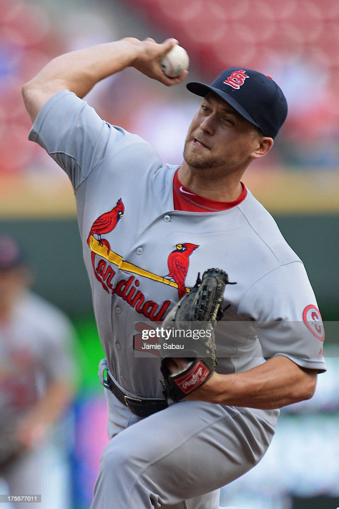 <a gi-track='captionPersonalityLinkClicked' href=/galleries/search?phrase=Trevor+Rosenthal&family=editorial&specificpeople=9003011 ng-click='$event.stopPropagation()'>Trevor Rosenthal</a> #26 of the St. Louis Cardinals pitches in relief in the bottom of the ninth inning against the Cincinnati Reds at Great American Ball Park on August 4, 2013 in Cincinnati, Ohio. St. Louis defeated Cincinnati 15-2.