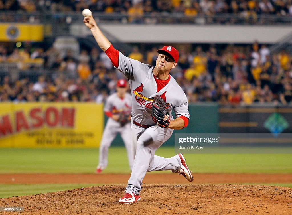 Trevor Rosenthal #44 of the St. Louis Cardinals pitches in the tenth inning during the game against the Pittsburgh Pirates at PNC Park on July 12, 2015 in Pittsburgh, Pennsylvania.