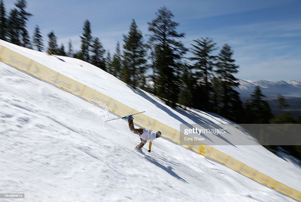 Trevor Semmens loses his balance during a training run in the Men's Moguls at the U.S. Freestyle Moguls National Championship at Heavenly Resort on March 29, 2013 in South Lake Tahoe, California.