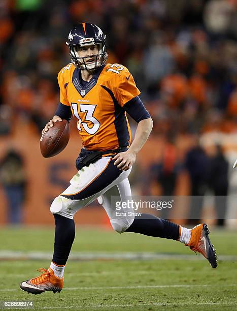 Trevor Siemian of the Denver Broncos in action against the Kansas City Chiefs at Sports Authority Field at Mile High on November 27 2016 in Denver...