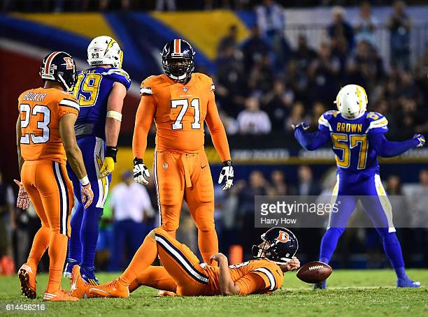 Trevor Siemian of the Denver Broncos reacts after a sack by Jatavis Brown of the San Diego Chargers during the fourth quarter of a 2113 Charger win...