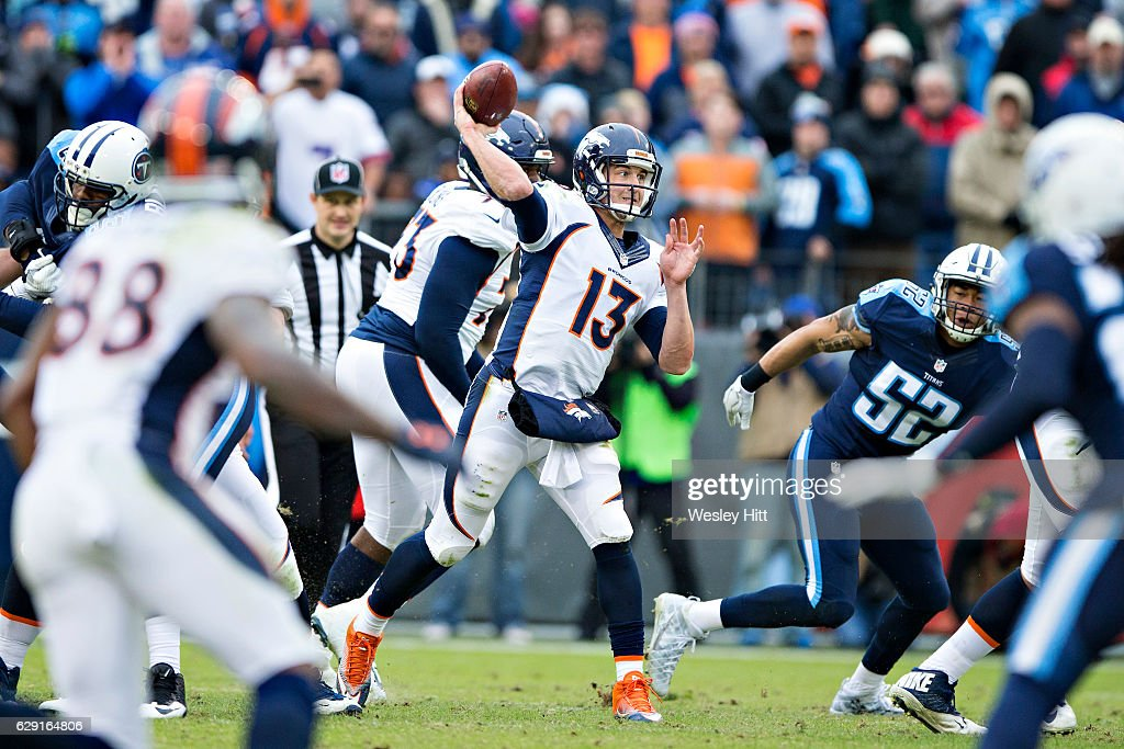 Trevor Siemian #13 of the Denver Broncos throws a pass during a game against the Tennessee Titans at Nissan Stadium on December 11, 2016 in Nashville, Tennessee. The Titans defeated the Broncos 13-10.