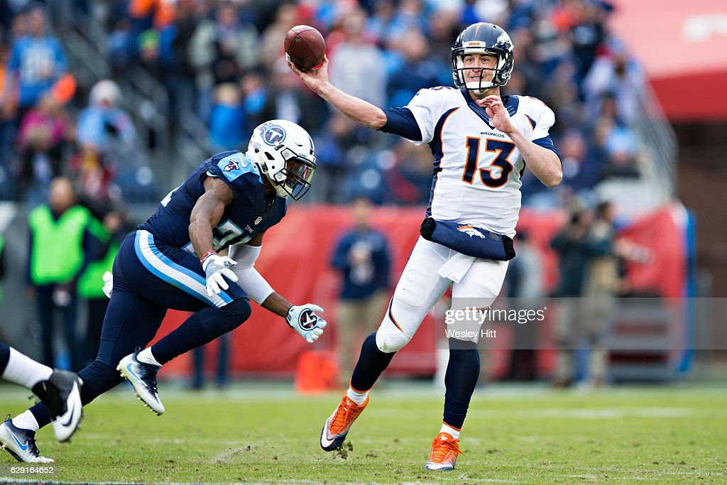 Trevor Siemian #13 of the Denver Broncos throws a pass under pressure from Kevin Byard #31 of the Tennessee Titans at Nissan Stadium on December 11, 2016 in Nashville, Tennessee. The Titans defeated the Broncos 13-10.