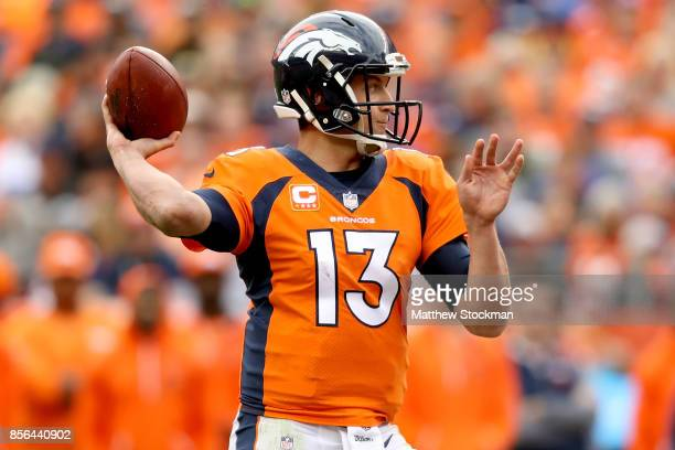 Trevor Siemian of the Denver Broncos throws against the Oakland Raiders at Sports Authority Field at Mile High on October 1 2017 in Denver Colorado