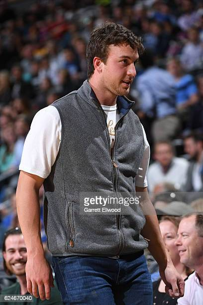Trevor Siemian of the Denver Broncos watches the game between the Denver Nuggets and the Golden State Warriors on November 10 2016 at the Pepsi...