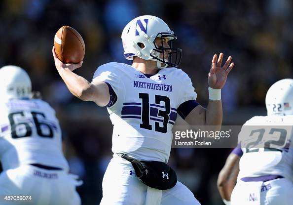Trevor Siemian of the Northwestern Wildcats passes the ball during the first quarter of the game against the Minnesota Golden Gophers on October 11...