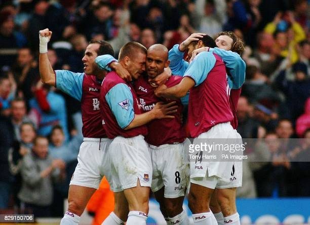 Trevor Sinclair after scoring the first goal for West Ham against Blackburn during their FA Barclaycard Premiership match at West Ham's Upton Park...