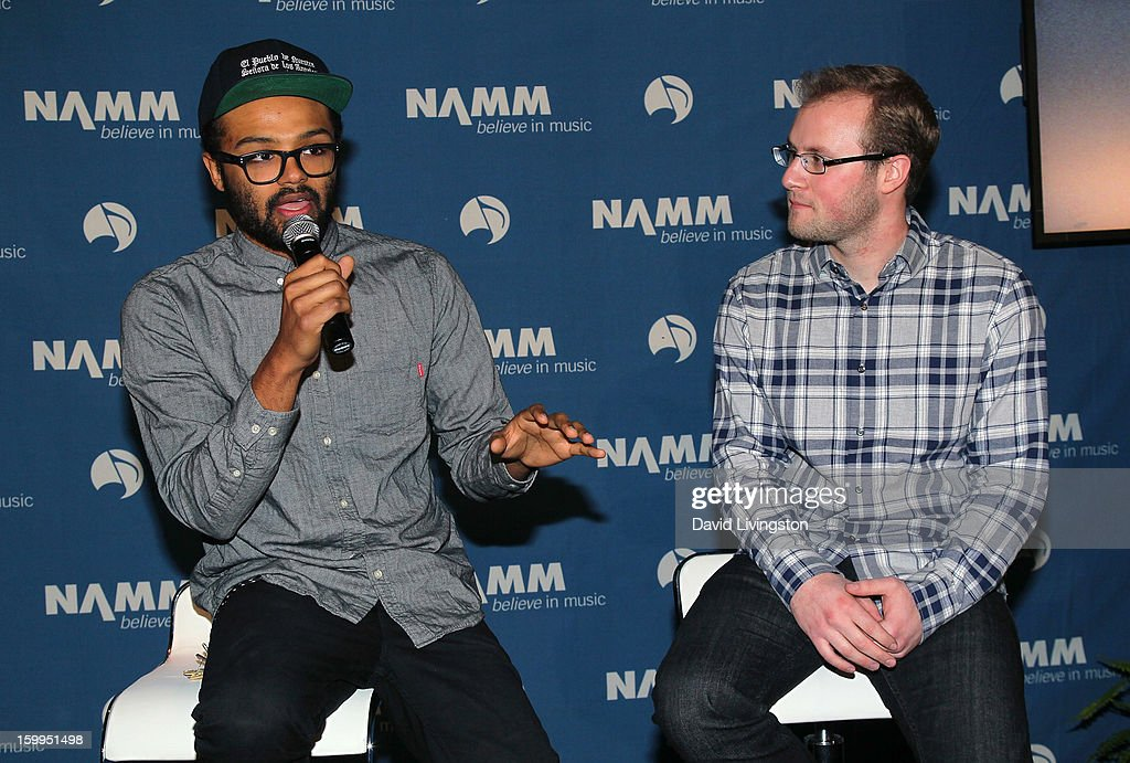 DJ Trevor Skeet (L) and Chromatik CEO Matt Sandler attend the 2013 NAMM Show - Media Preview Day at the Anaheim Convention Center on January 23, 2013 in Anaheim, California.
