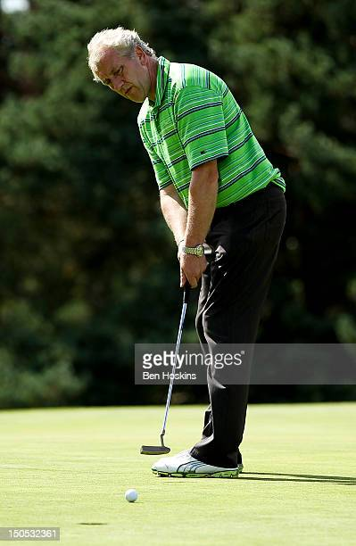 Trevor Smith of Sene Valley Golf Club putts on the 18th green during the Regional Final of the Virgin Atlantic PGA National ProAm Championship at...